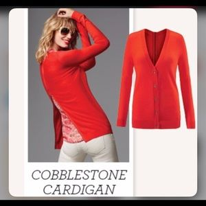 CABi Cobblestone Red Zipper Back Cardigan Size S